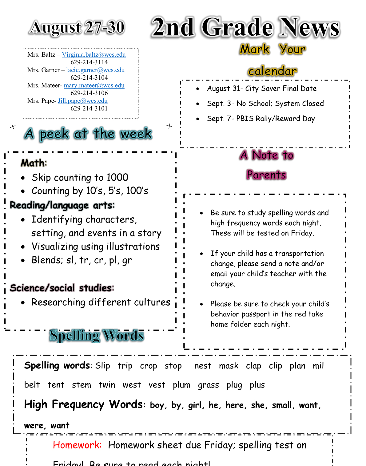 Second Grade Newsletter August 28 please contact office for paper copy
