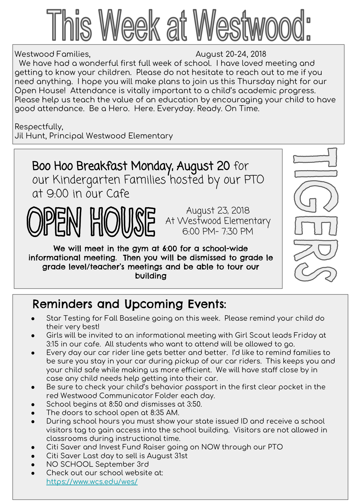 Newsletter from Mrs Hunt August 20