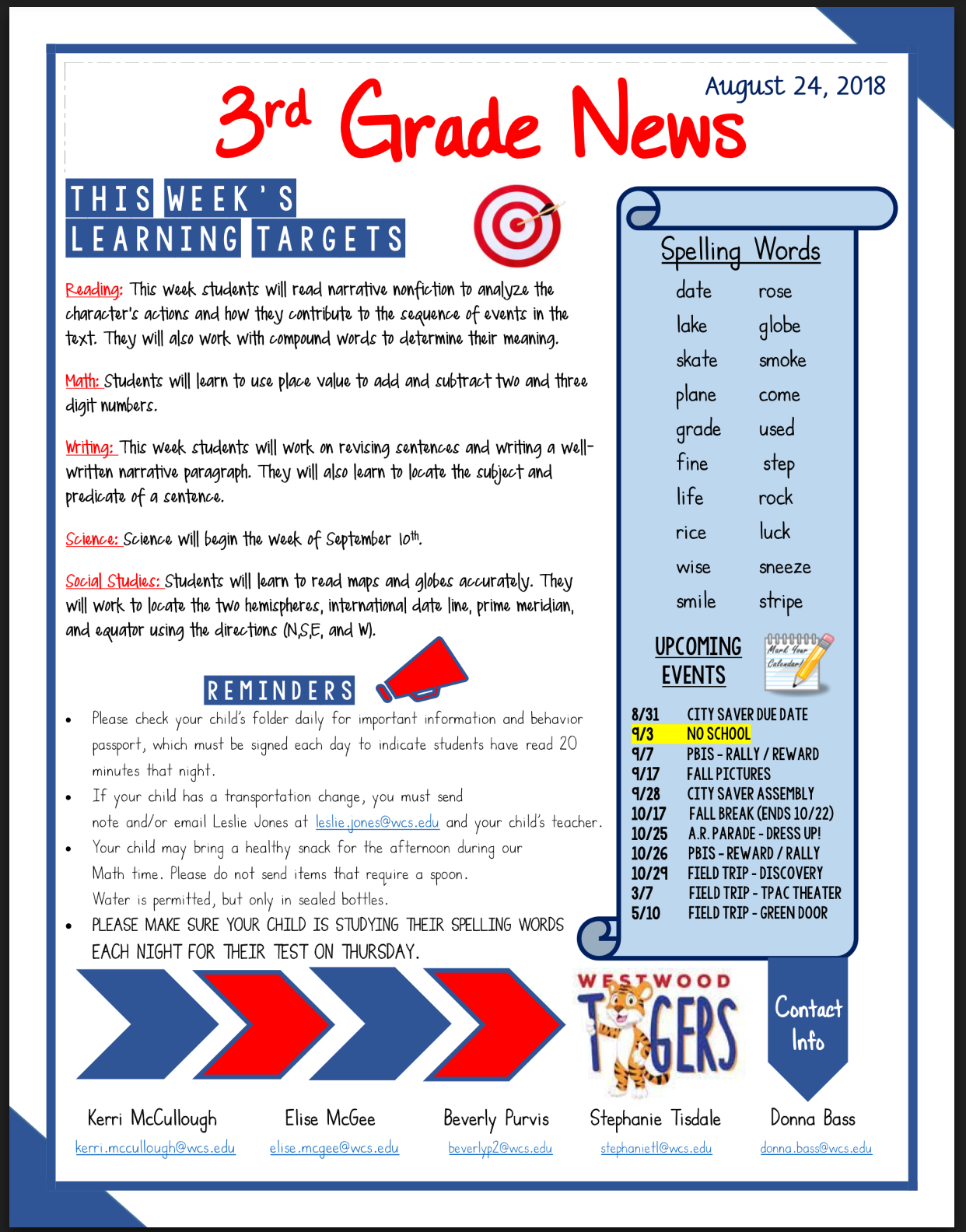 Third Grade Newsletter August 27: see office for paper copy