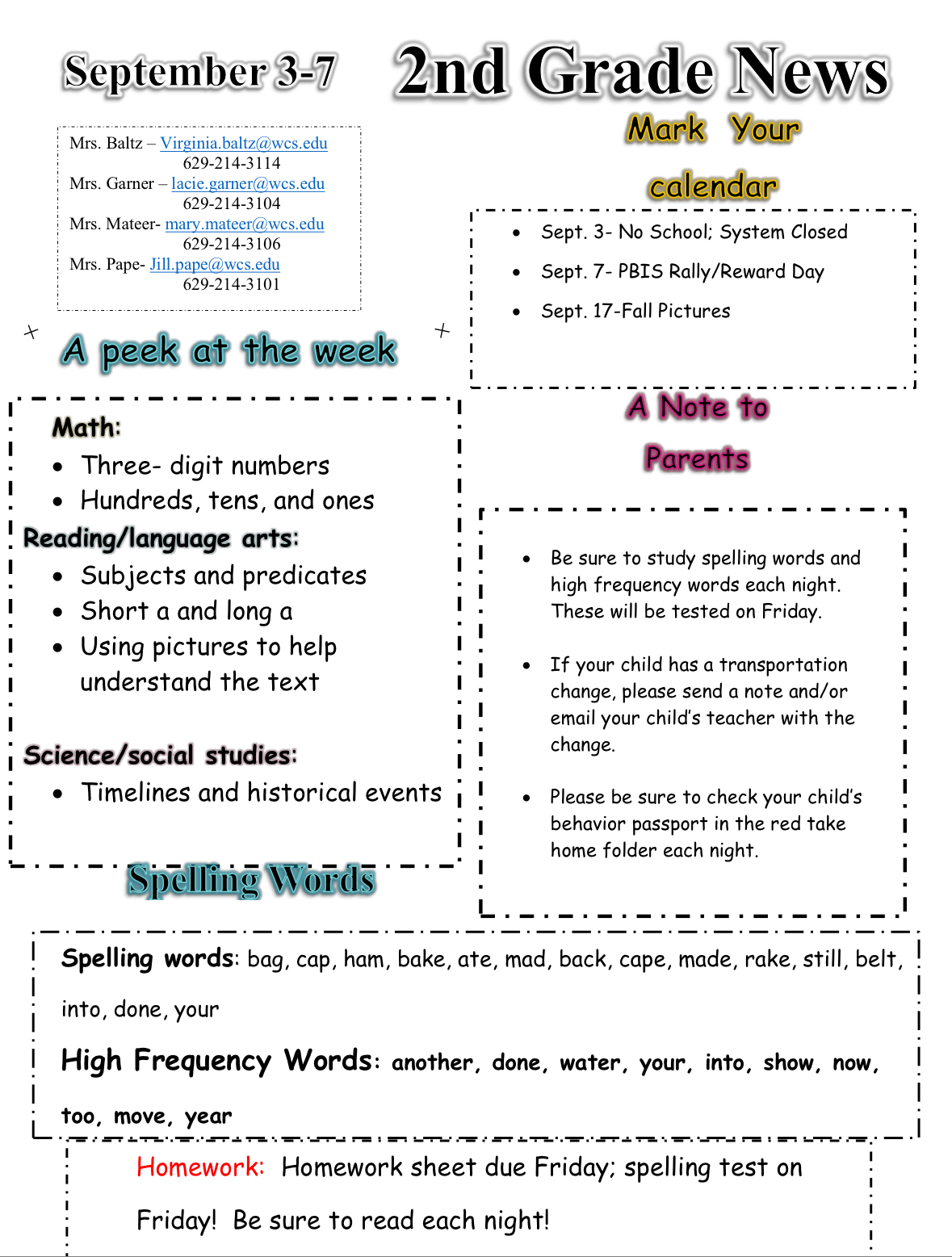 Second Grade Newsletter September 3: contact office for paper copy