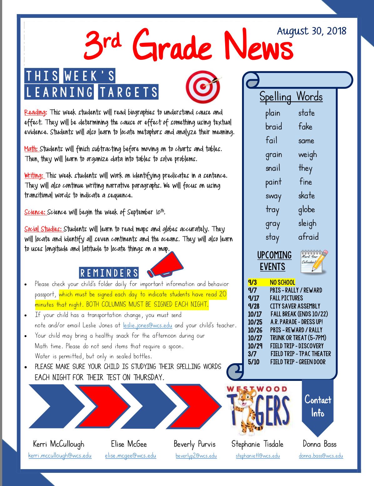 Second Grade Newsletter September 3: see office for paper copy