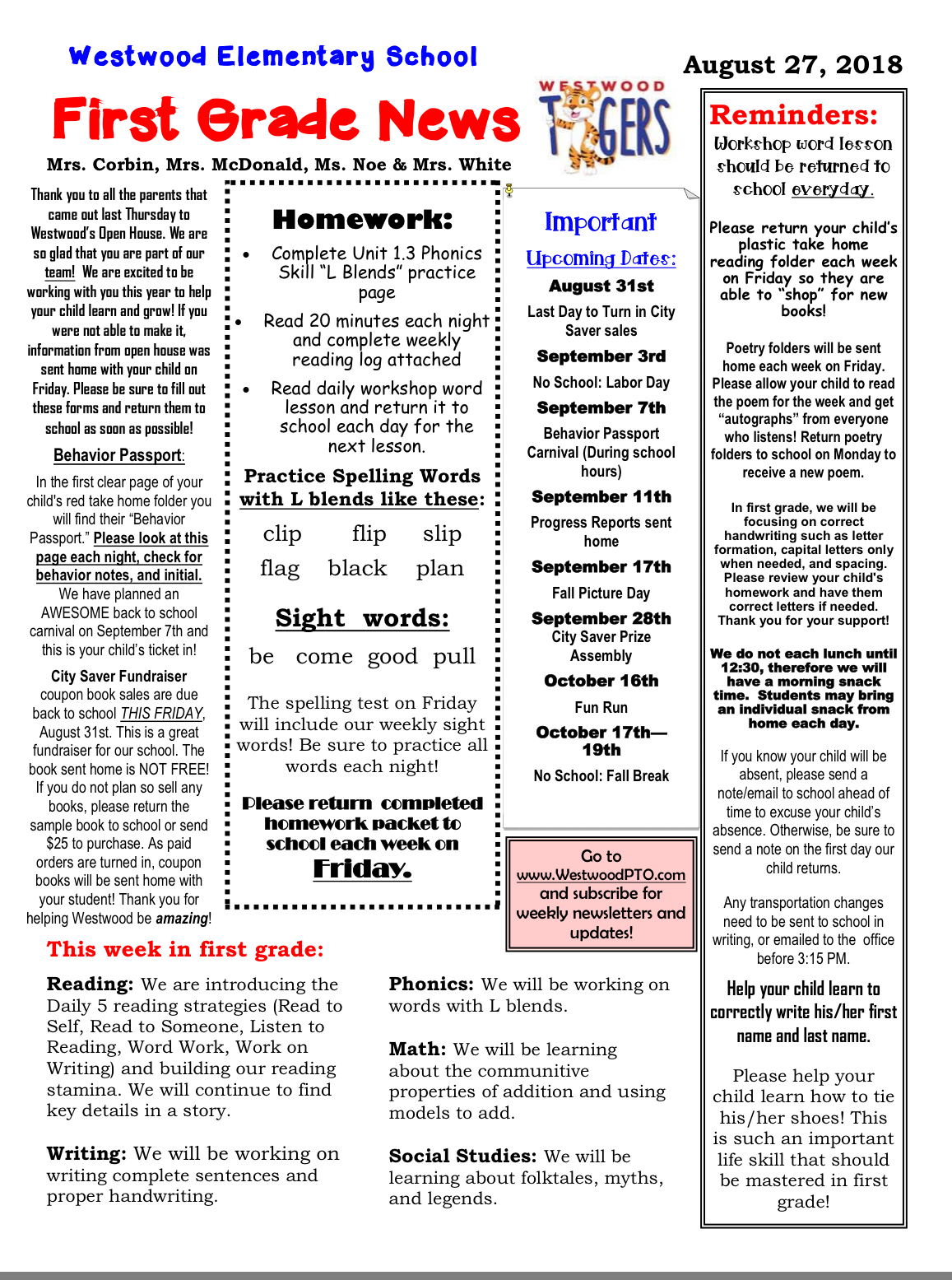 First Grade Newsletter August 27