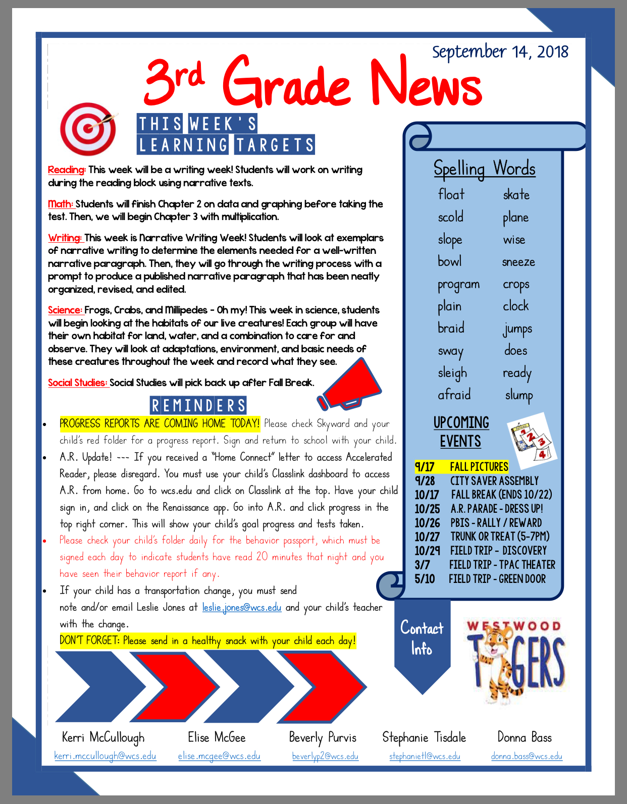 Third Grade Newsletter September 17