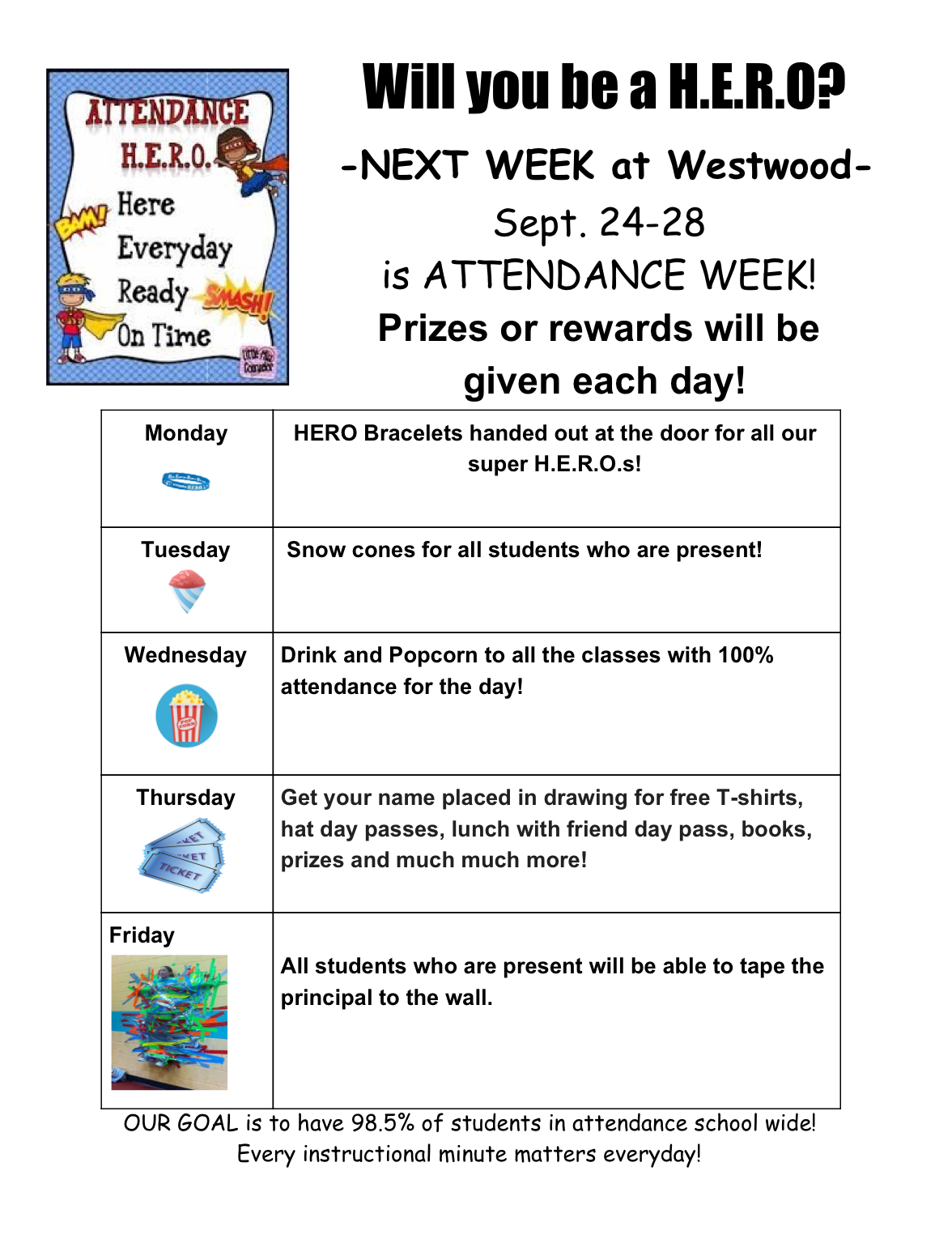 Attendance Week events: paper copy available in office