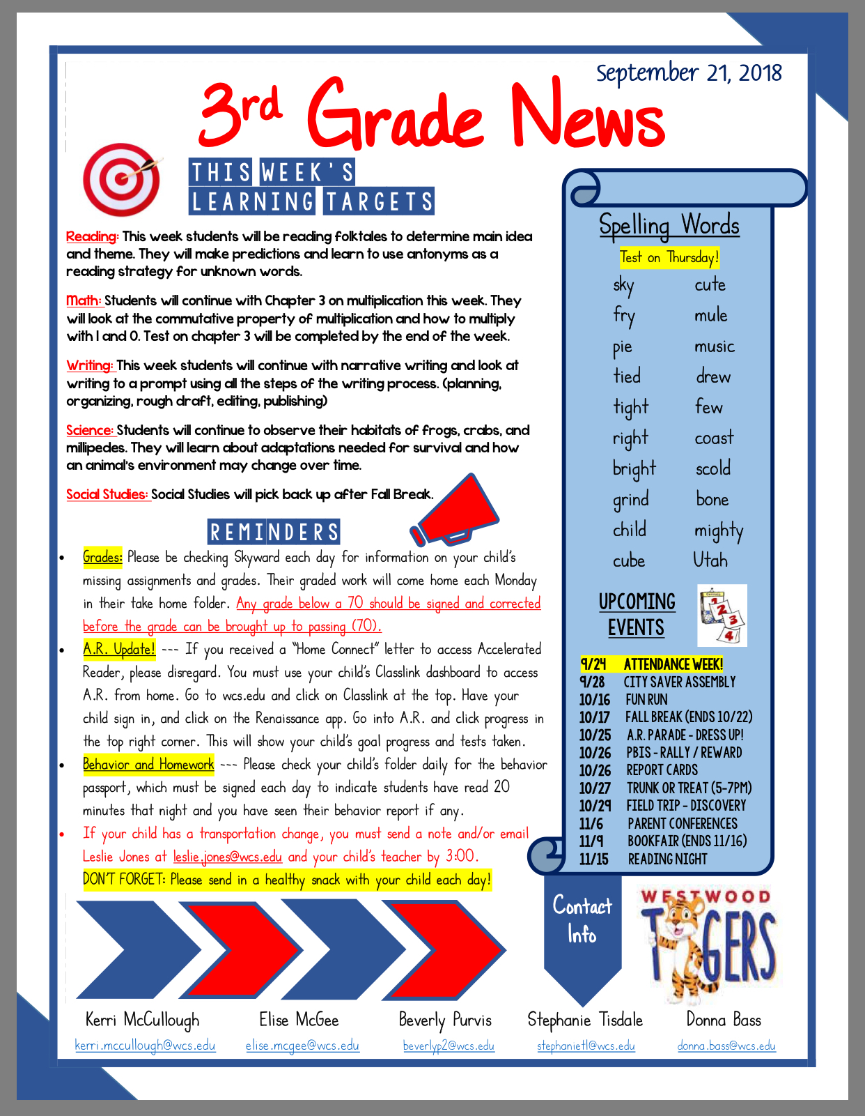3rd K Newsletter Sept 24 paper copy available in office