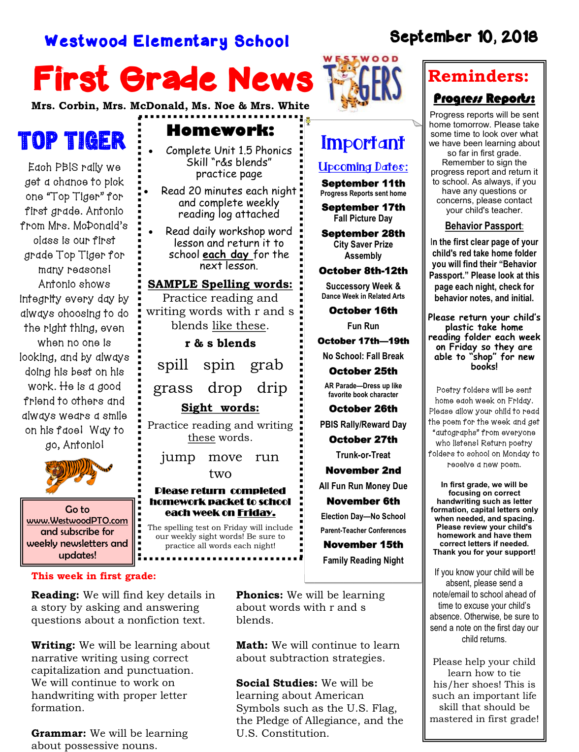 First Grade Newsletter September 10 Paper copy available at office