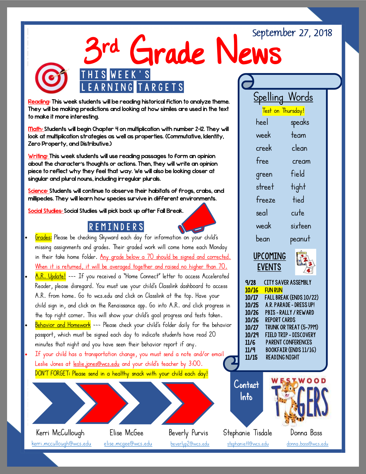 3 Grade Newsletter oct 1: paper copy in offixe