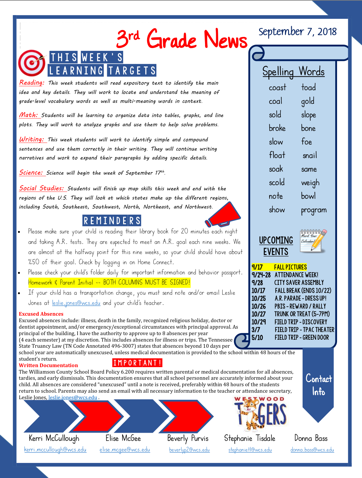 Third Grade Newsletter September 10