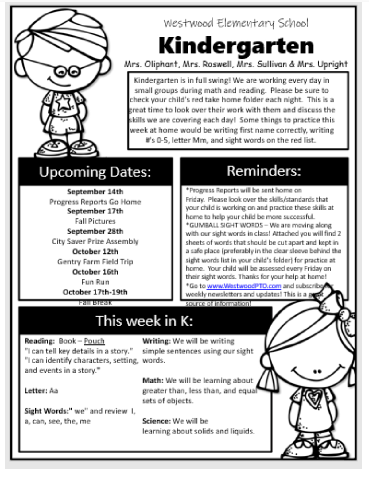 Kindergarten Newsletter September 17: paper copy available in office