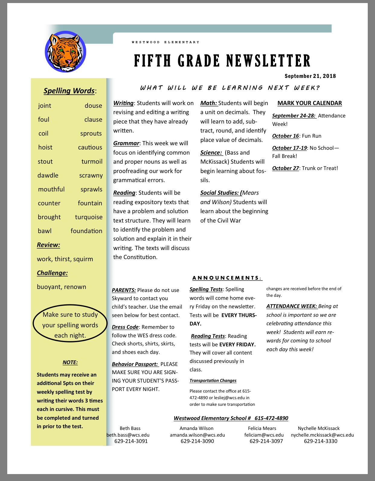 5th K Newsletter Sept 24 paper copy available in office