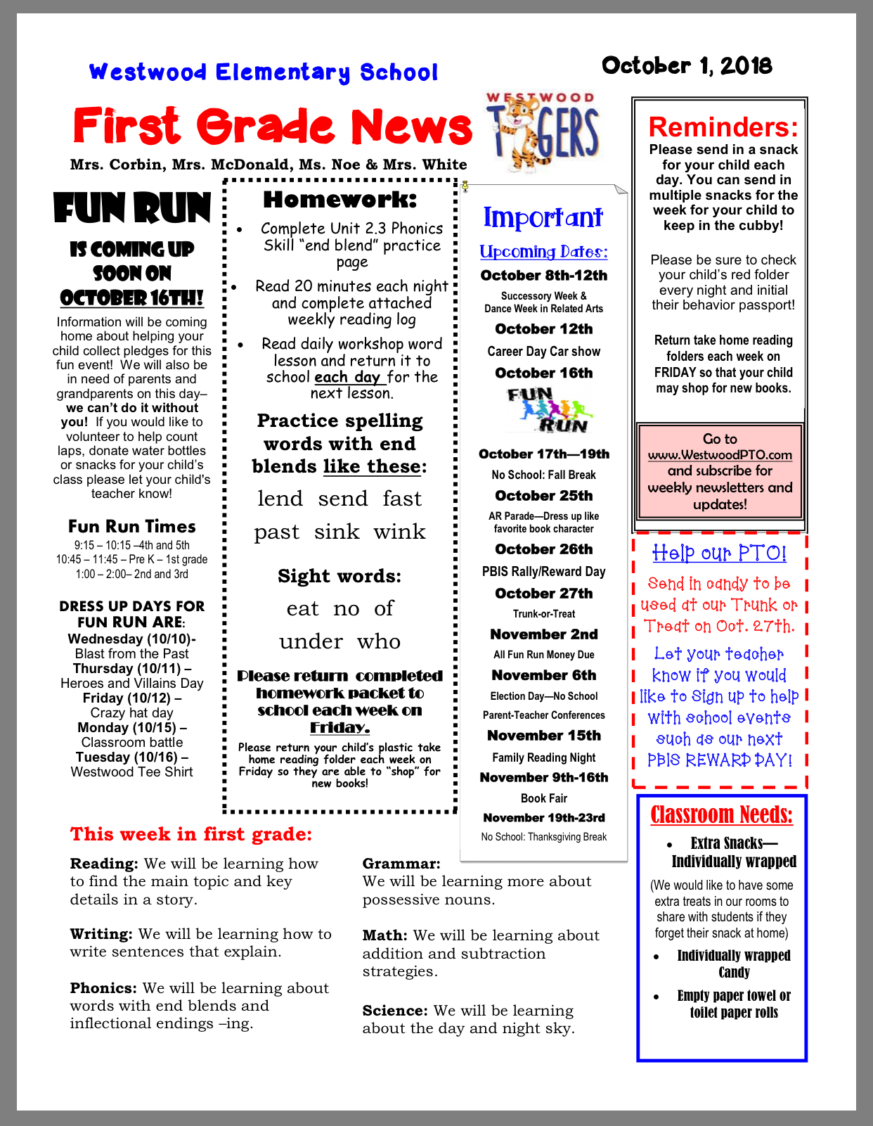 Grade level Newsletters: October 1, first: paper copy available in office