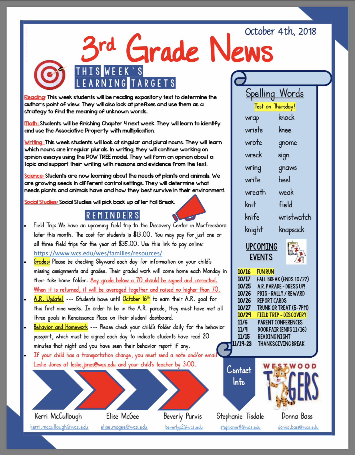 Third Grade Newsletter see office for paper copy