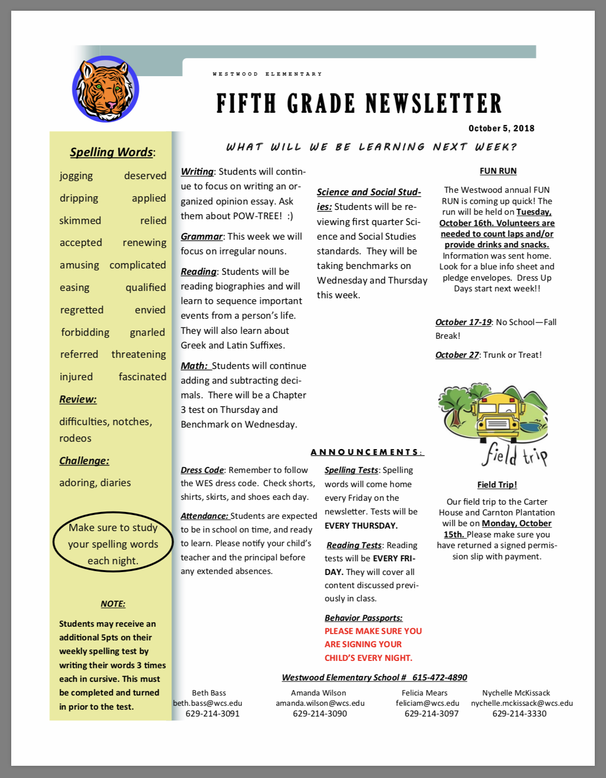 Fifth grade Newletter paper copy available in office