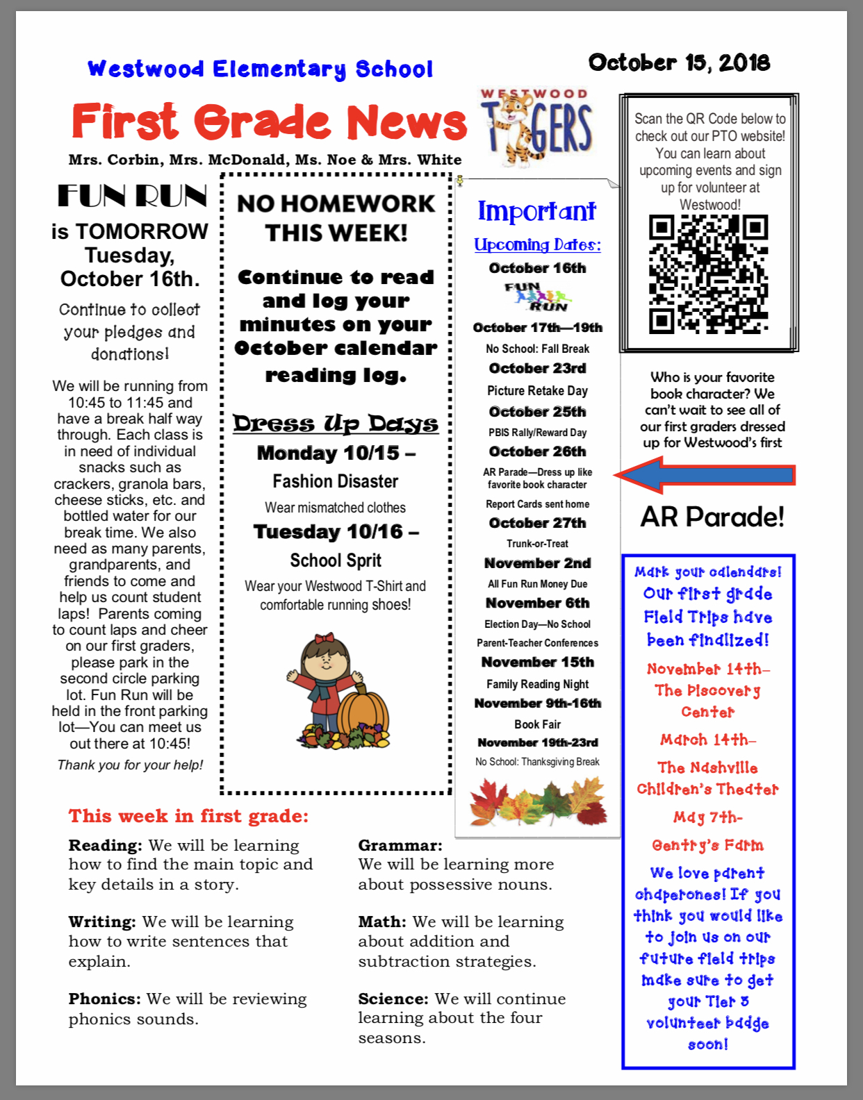 First Grade Newsletter: paper copy available in office