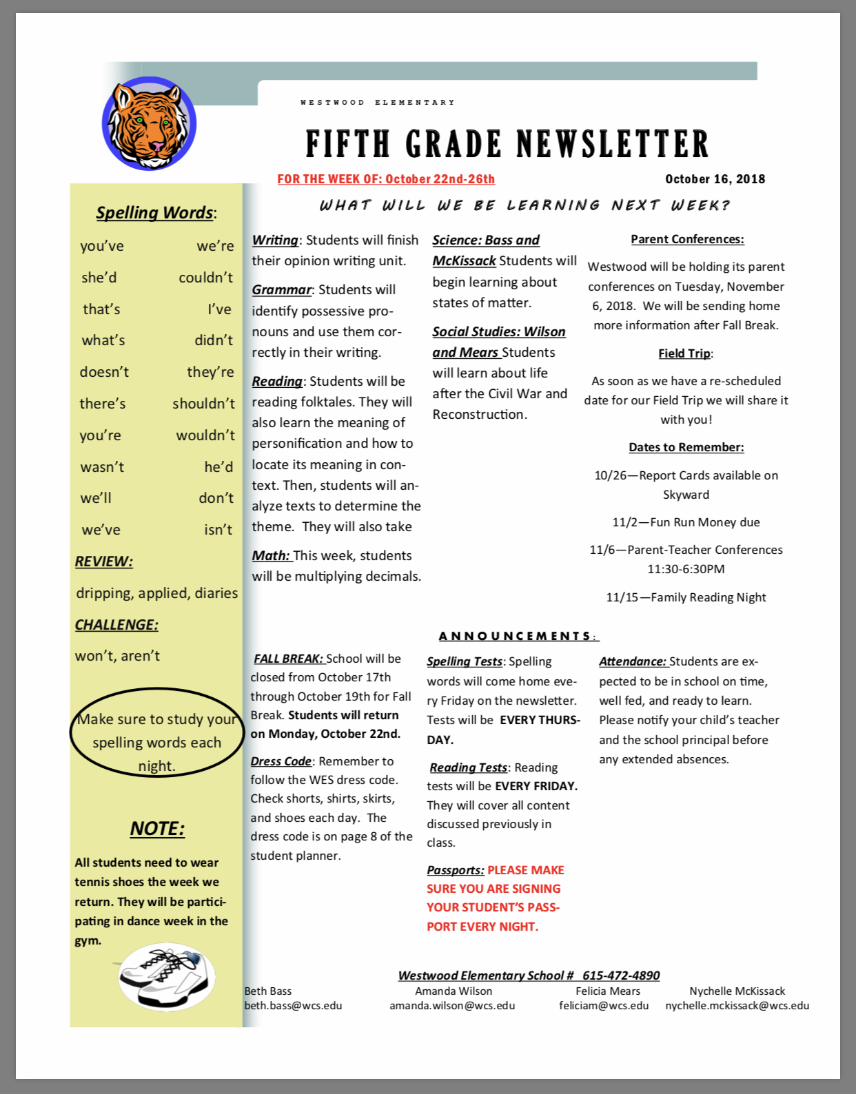 5th Grade Newsletter paper copy in office