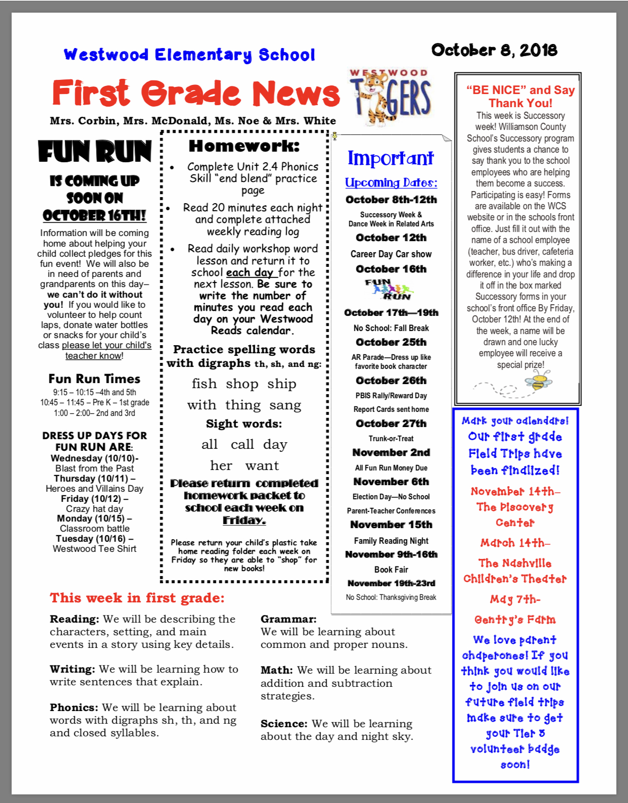 First Grade Newsletter paper copy available in office