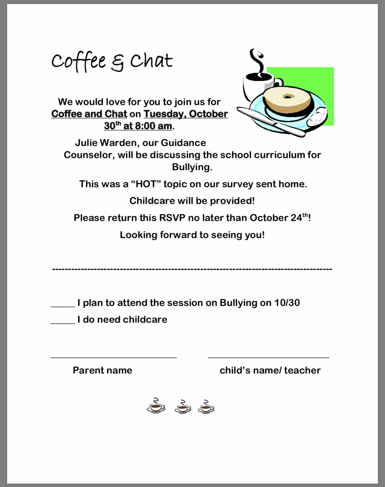 Coffee and Chat paper copy availablebin office