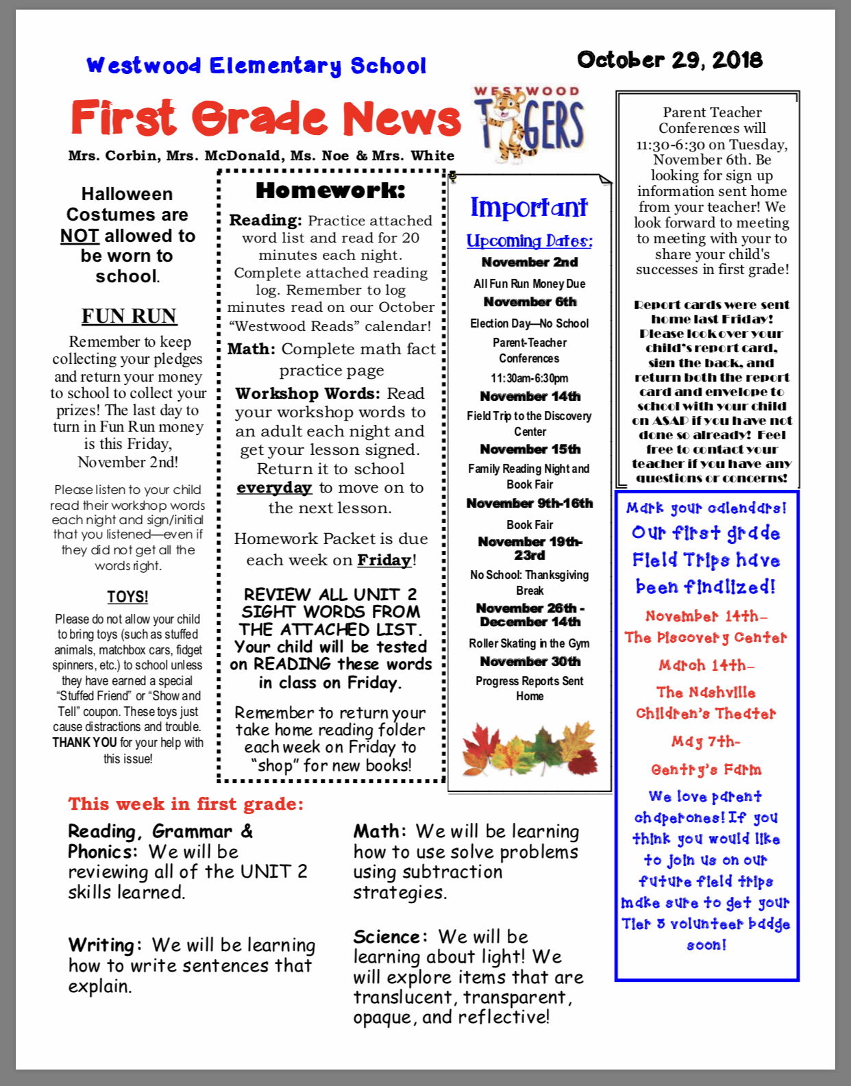 1st Grade Newsletter paper copy in office