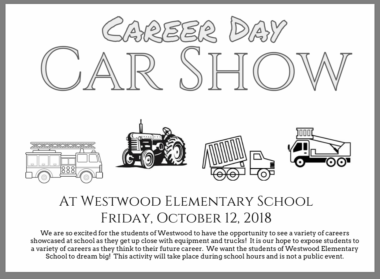 Car show flyer: paper copy available in office