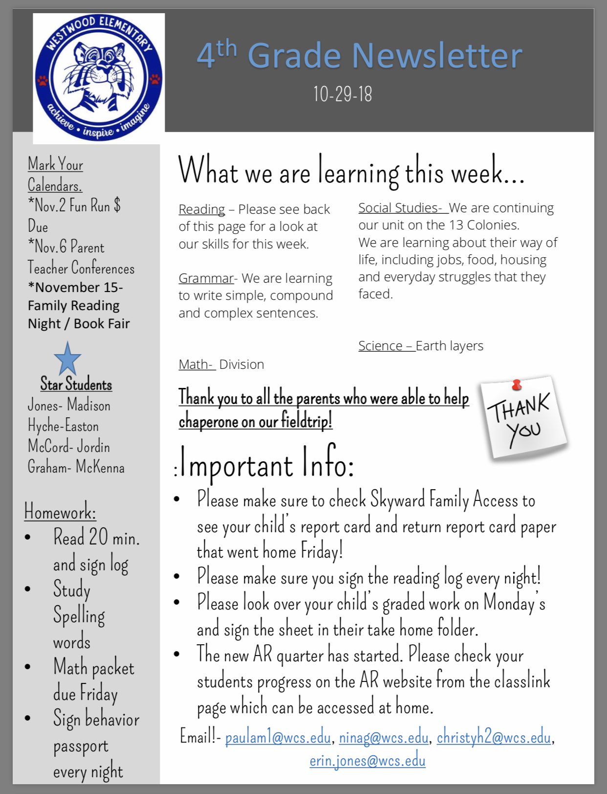 4th Grade Newsletter pepper copy in office