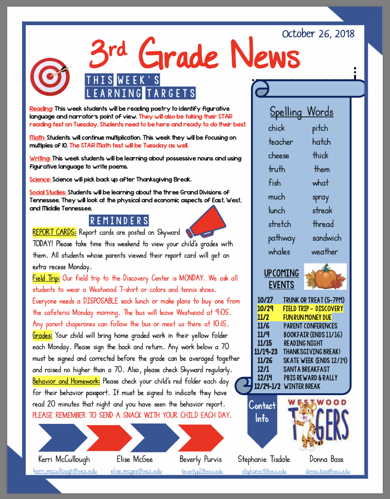 Third Grade news paper copy available in office