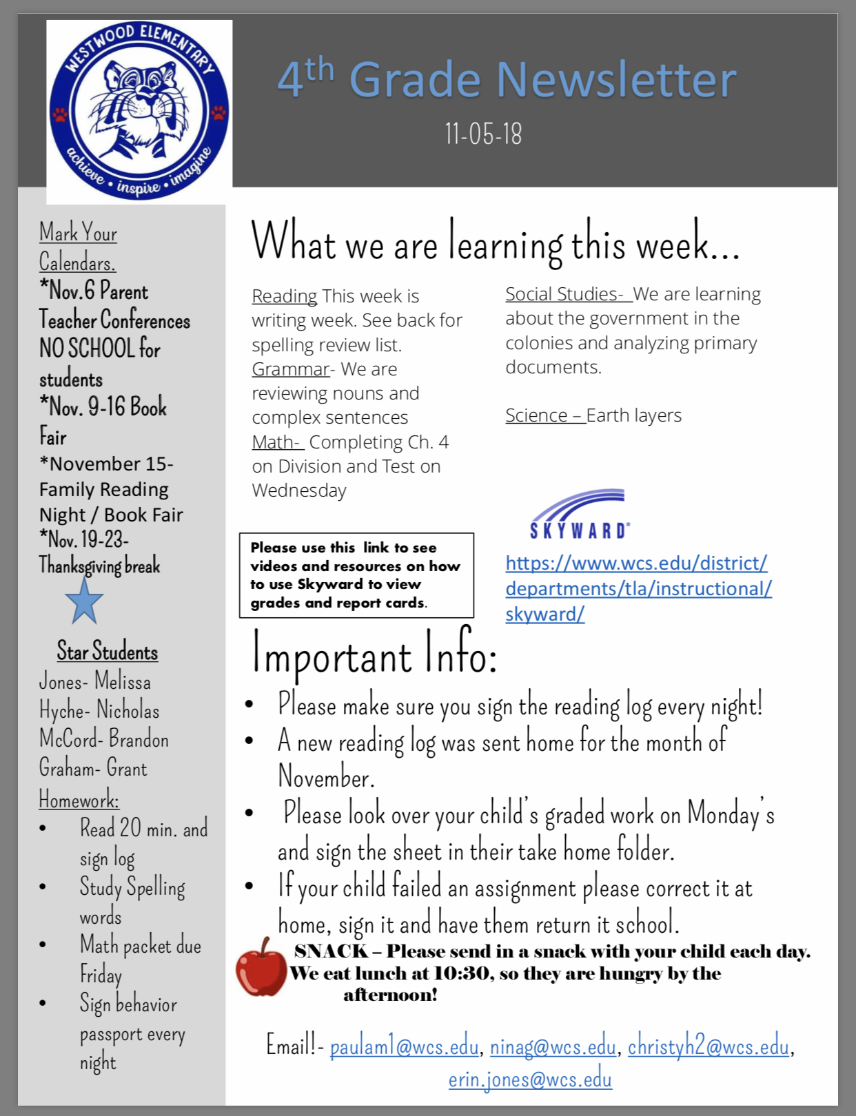 4 Grade Newsletter paper copy in office