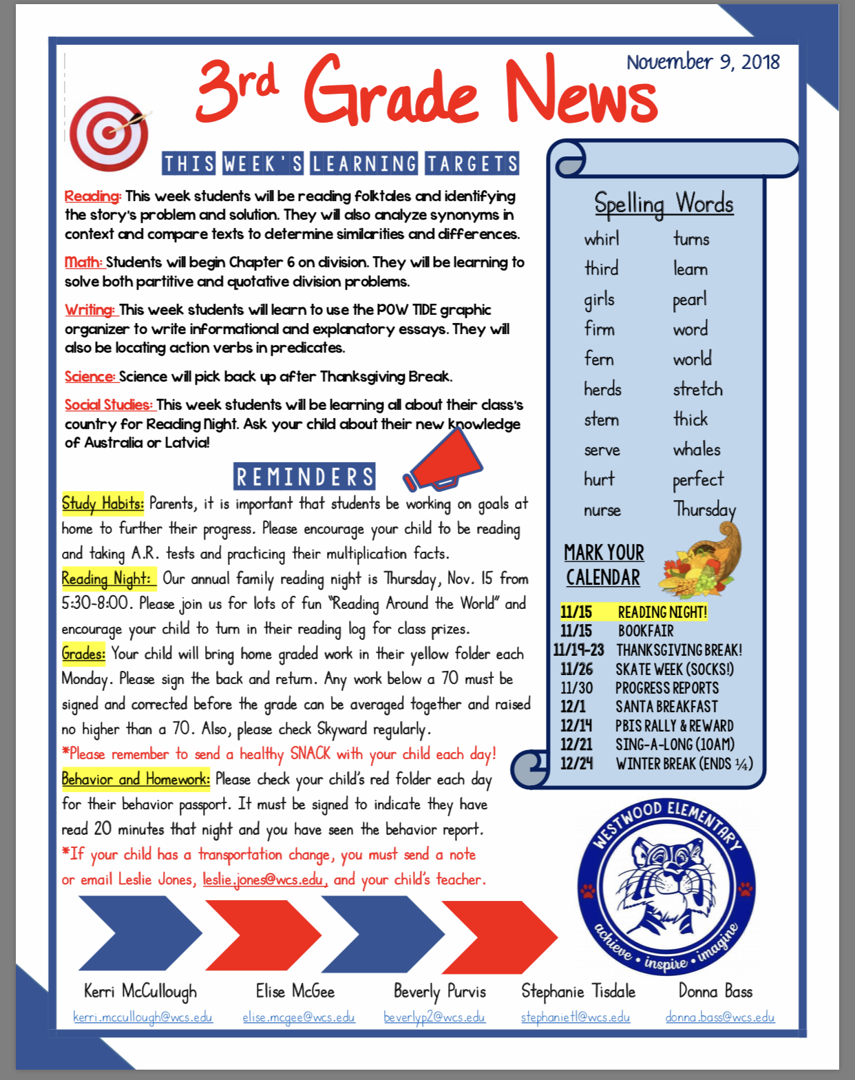 3 Grade newsletter paper copy in office