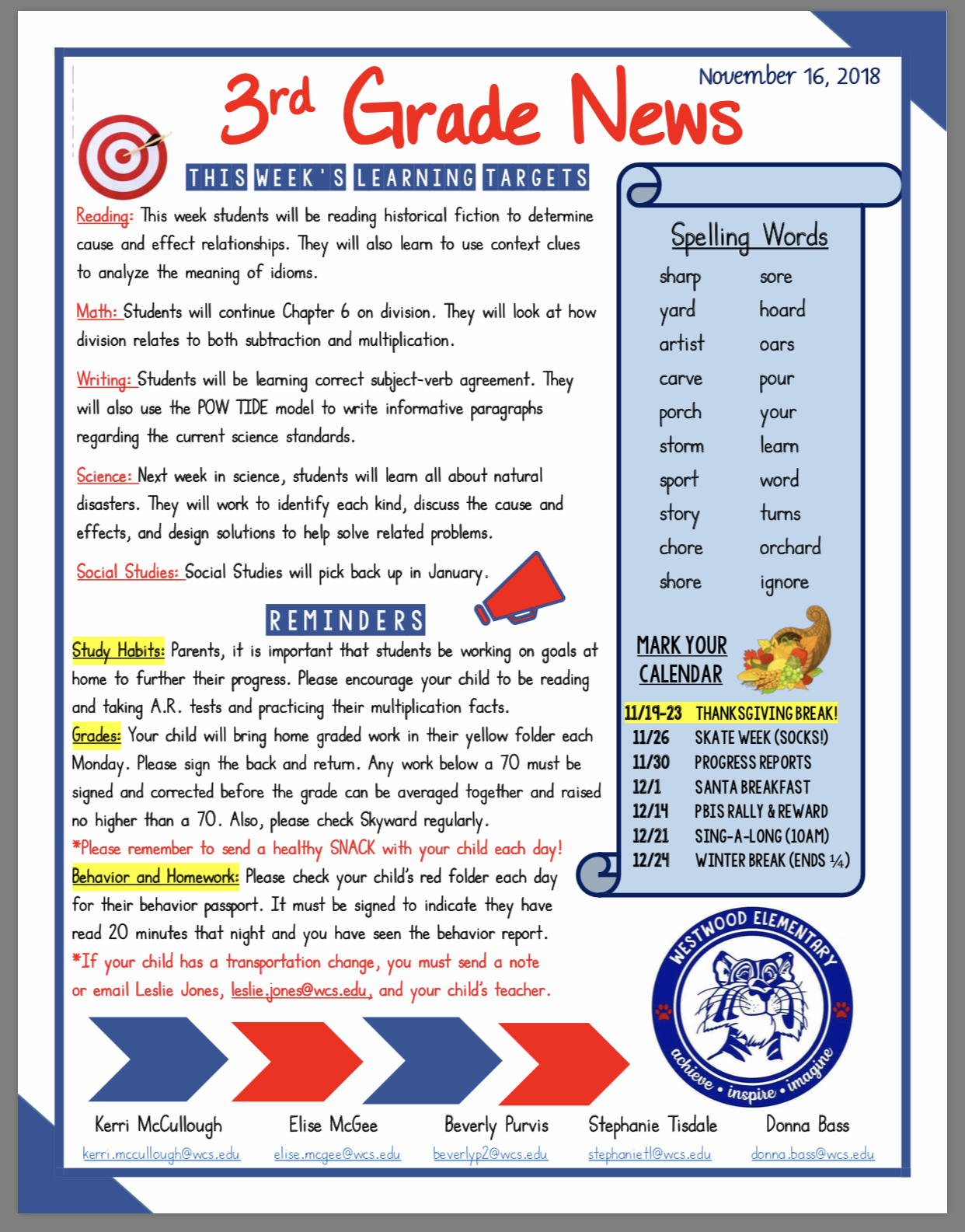 Third Grade Newsletter paper Copies available in office