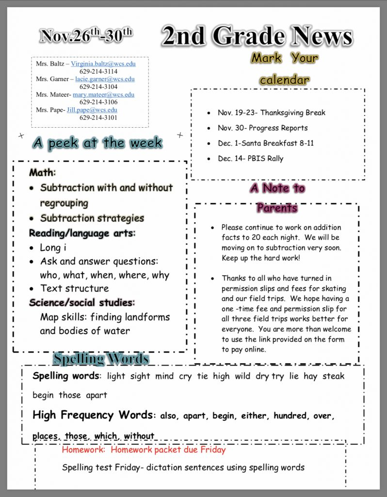 Second Grade Newsletter paper copy in office