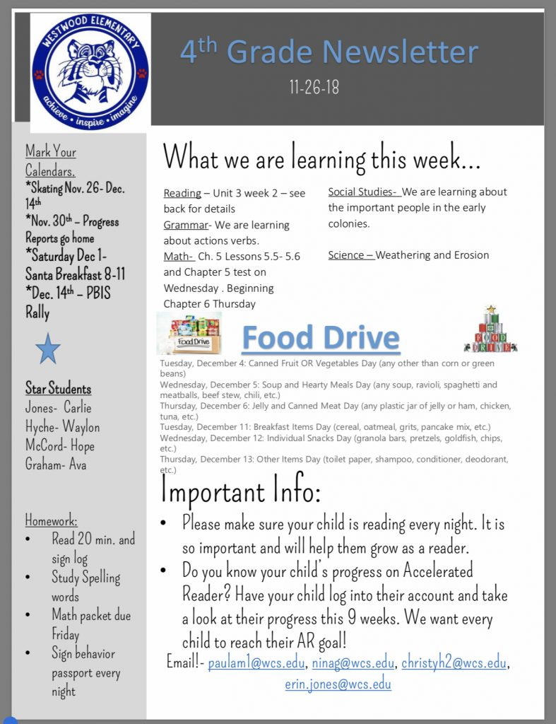 Fourth Grade Newsletter Paper Copy In Office