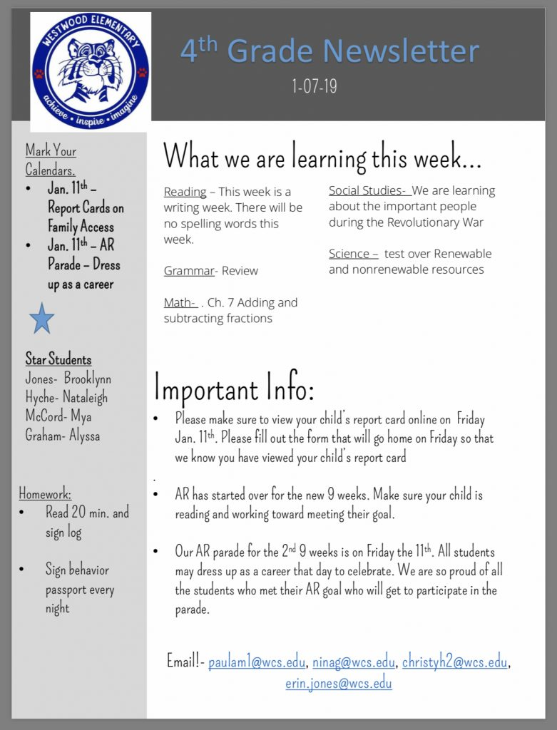 Fourth Grade Newsletter paper copy available in office