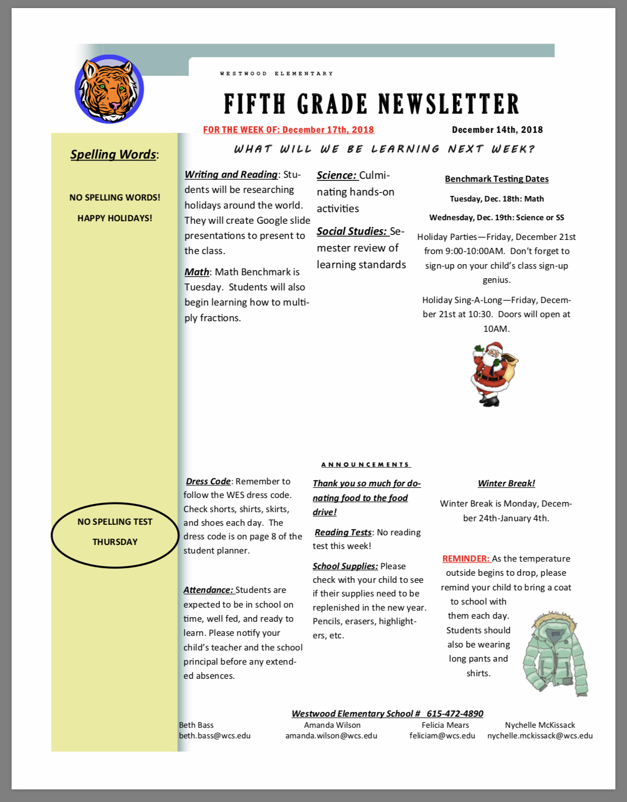 Fifth Grade Newsletter paper copy available in office