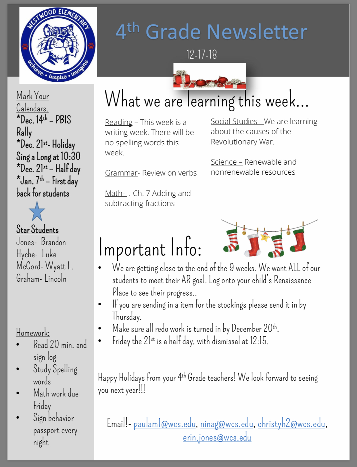 Fourth grade newsletter: paper copy available in office