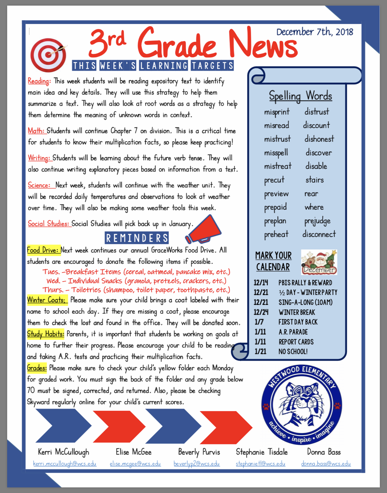 3rd Grade Newsletter paper copy in office