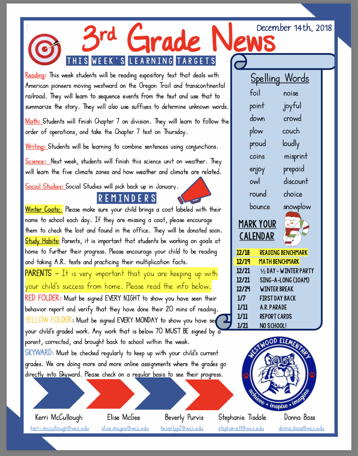 Third Grade Newsletter paper copy availble in office
