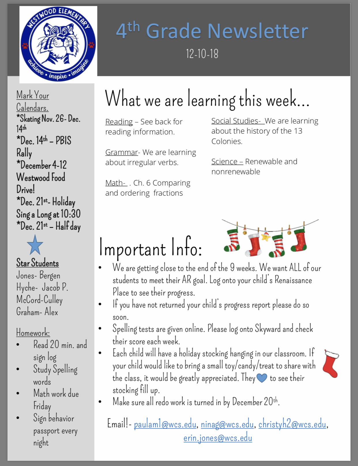 4th Grade Newsletter paper copy in office