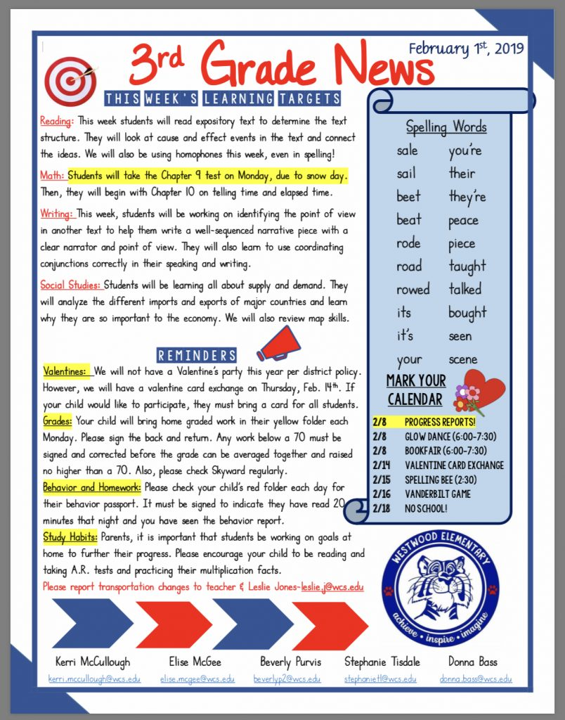 Grade 3 Newsletter paper copy in office