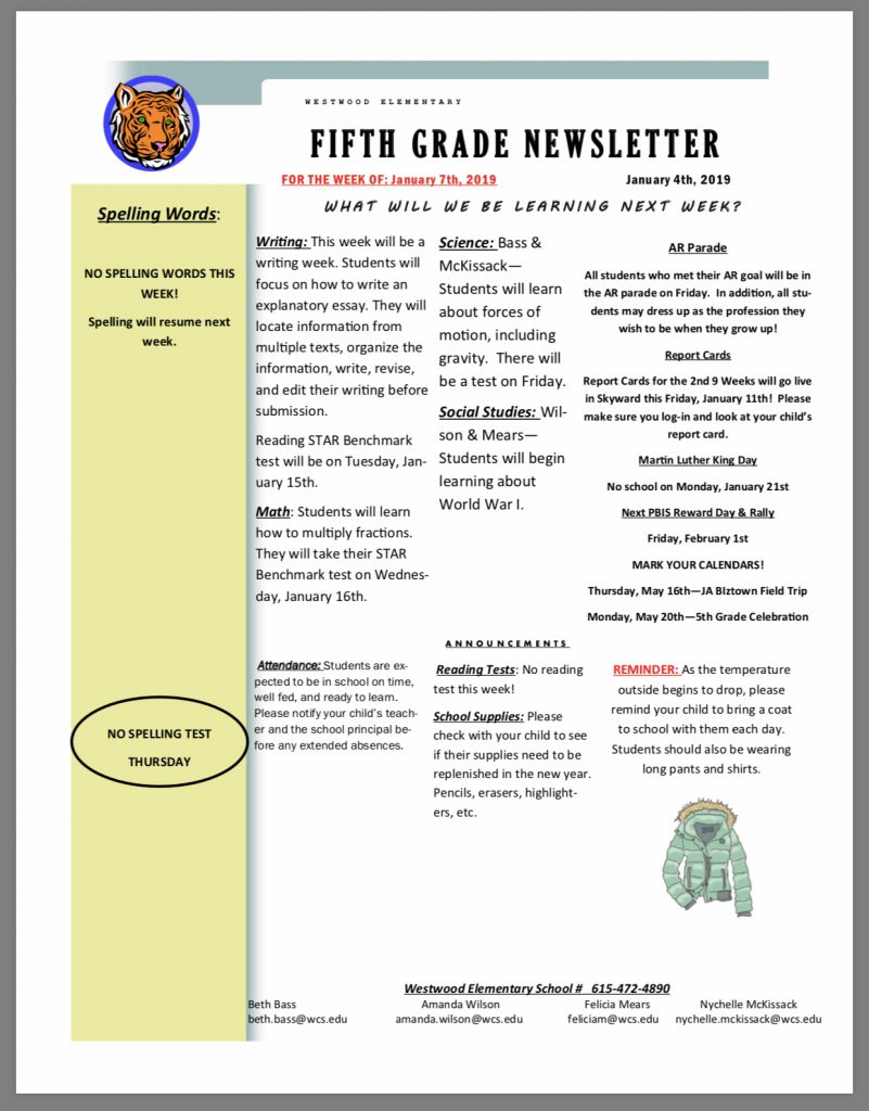 Fifth Grade Newsletter: paper copy in office