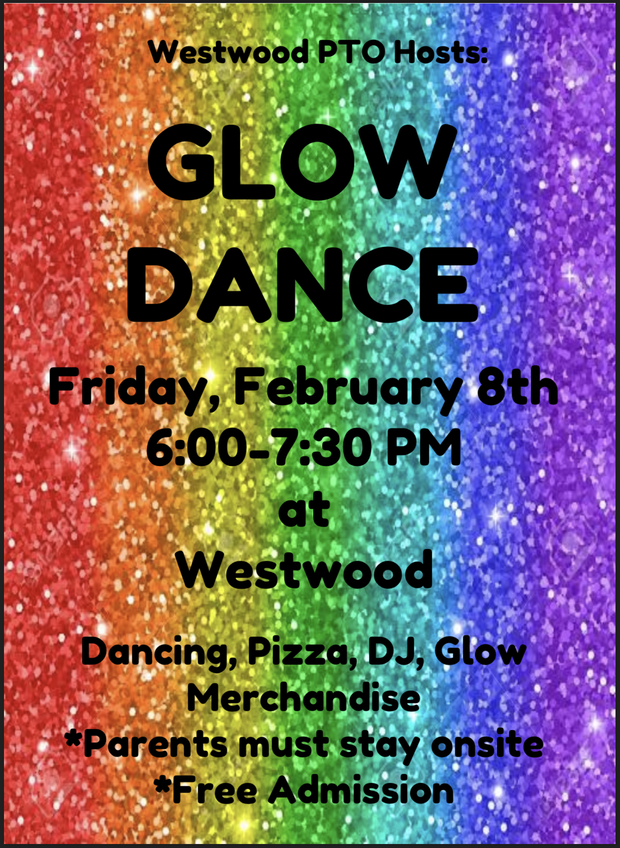Glow Dance flyer paper copy available in office