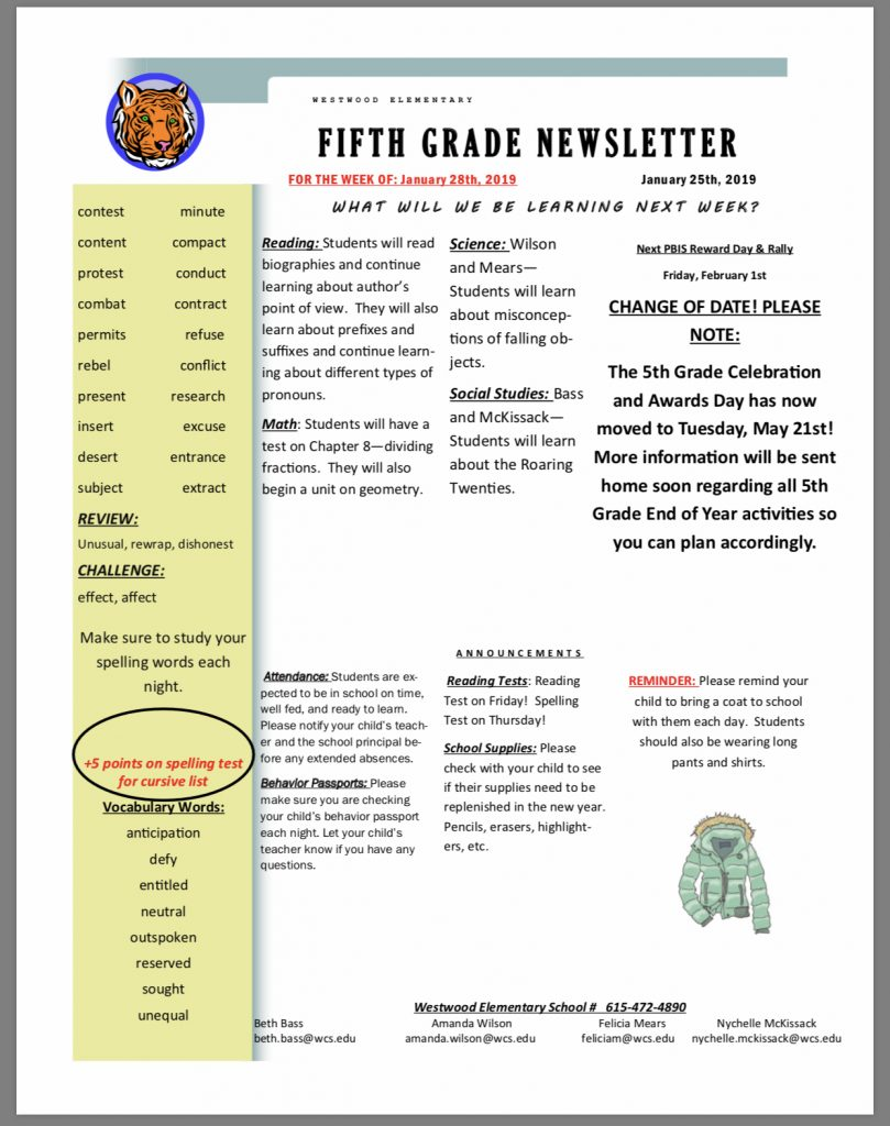 Fifth Grade Newsletter Paper copy in office
