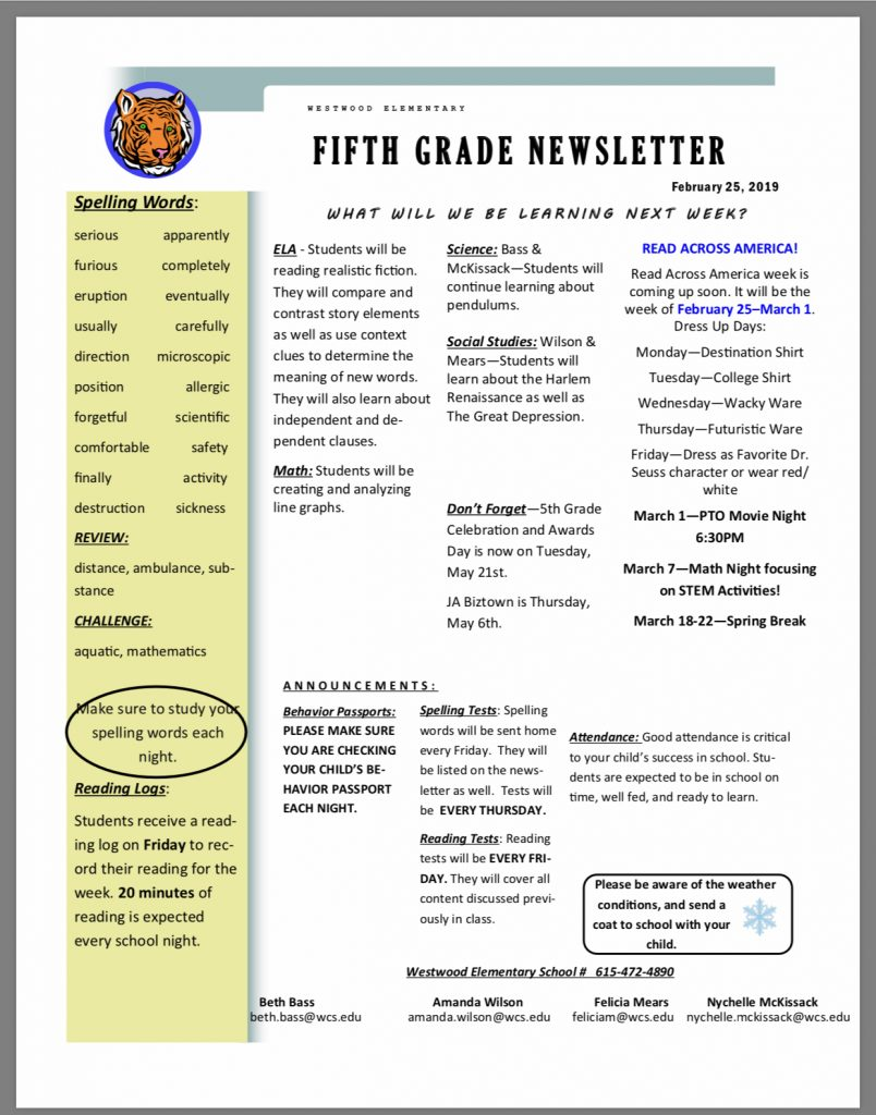 Grade 5 newsletter paper copy available in office