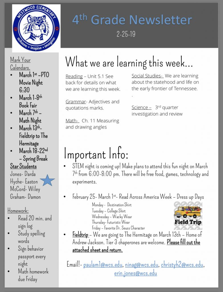 Grade 4 newsletter: paper copy available in office