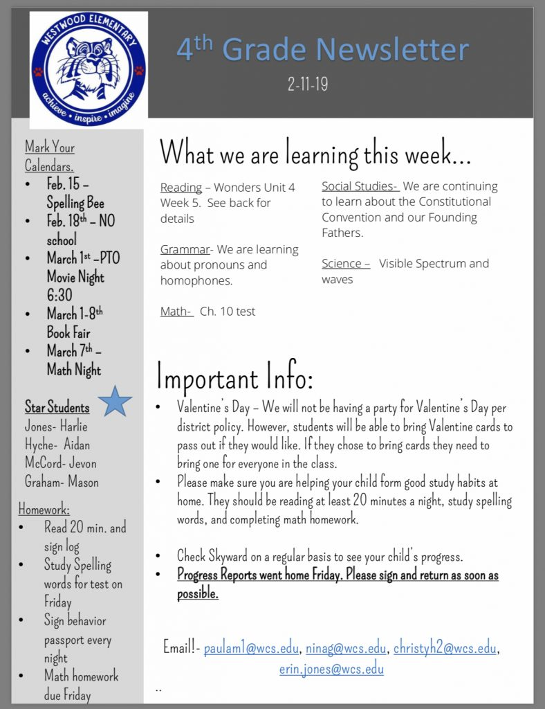 Grade 4 newsletter paper copy in office
