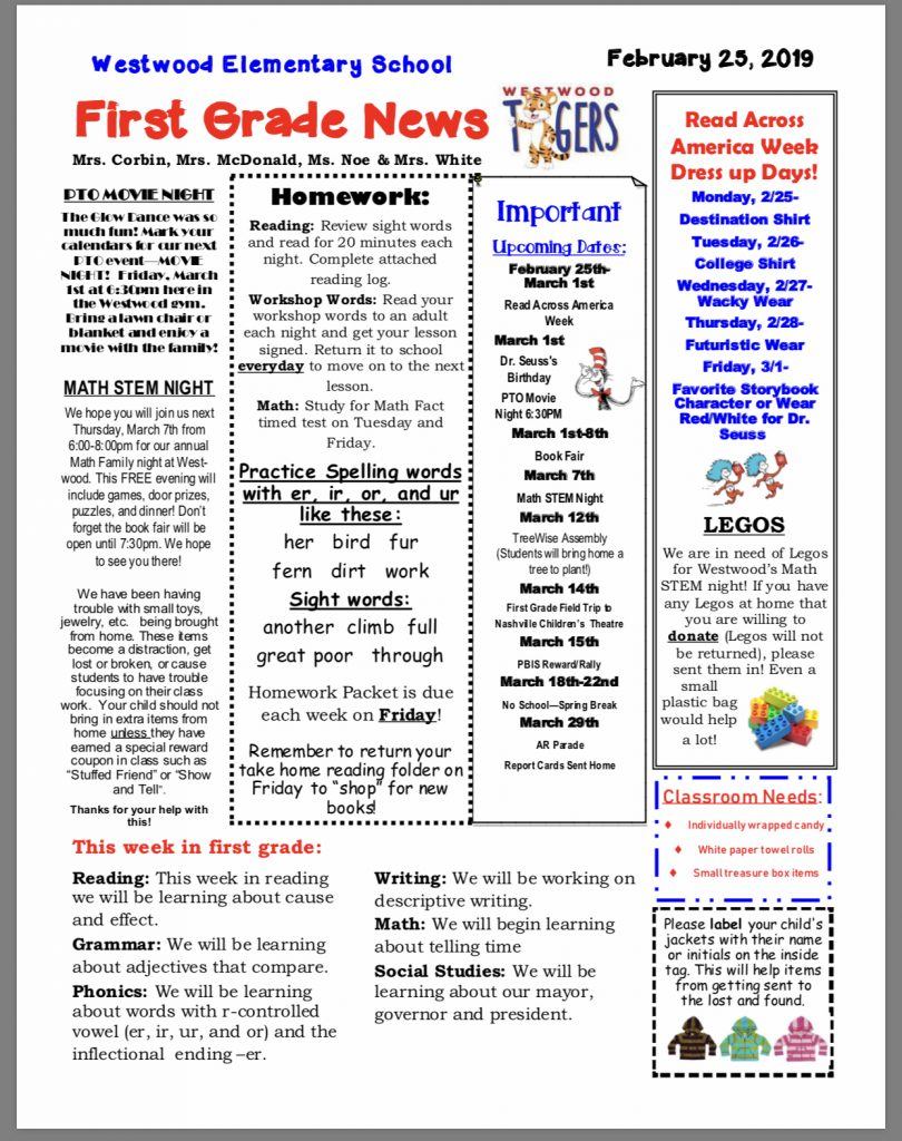 Grade 1 newsletter paper copy available in office