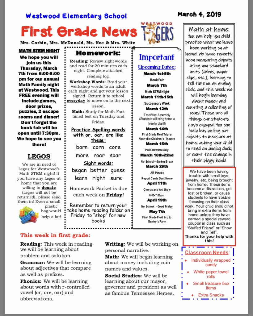 First Grade Newsletter paper copy in office