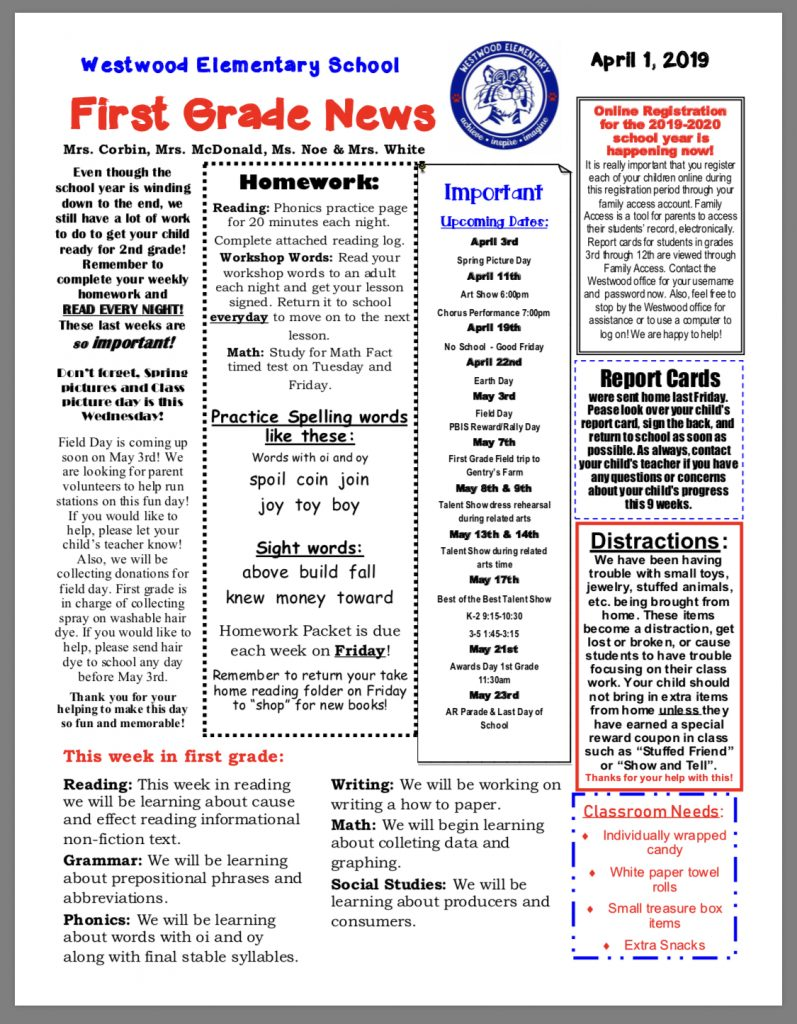 Grade 1 newsletter paper copy in office