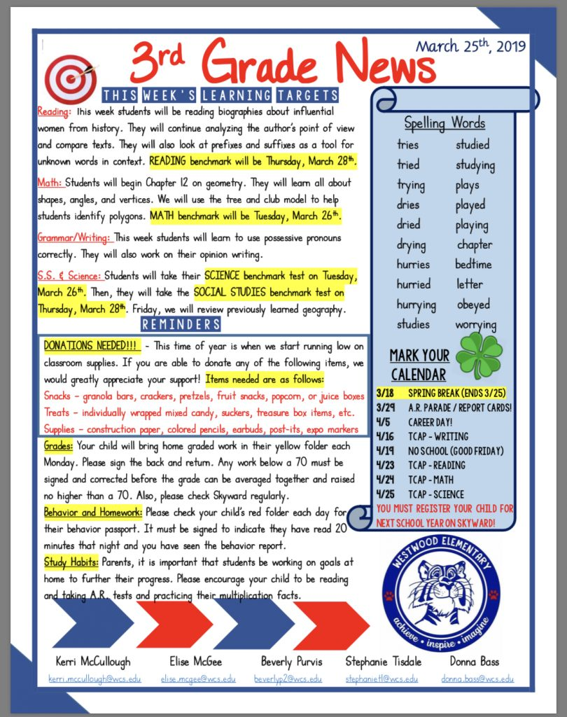 Grade 3 newsletter: paper copy available in office