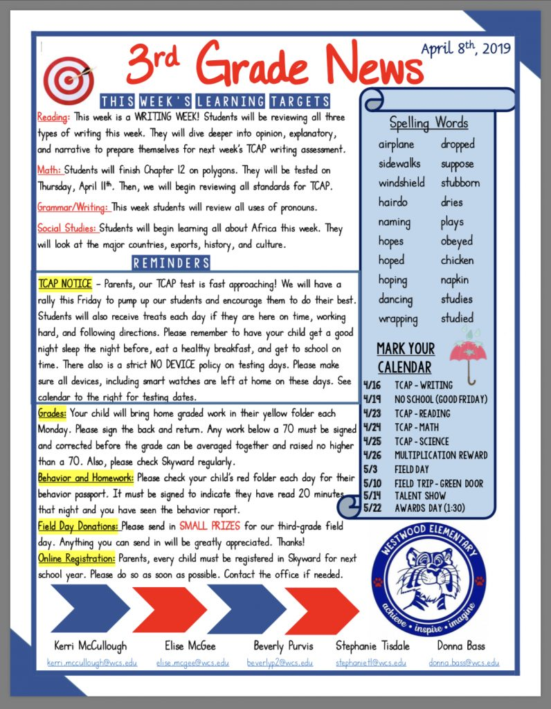 Grade 3 newsletter paper copy available in office