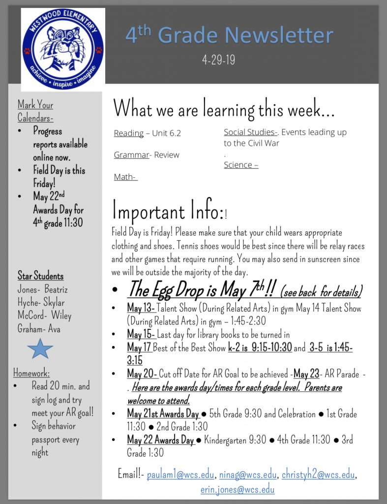 Grade 4 Newsletter paper copy available in office