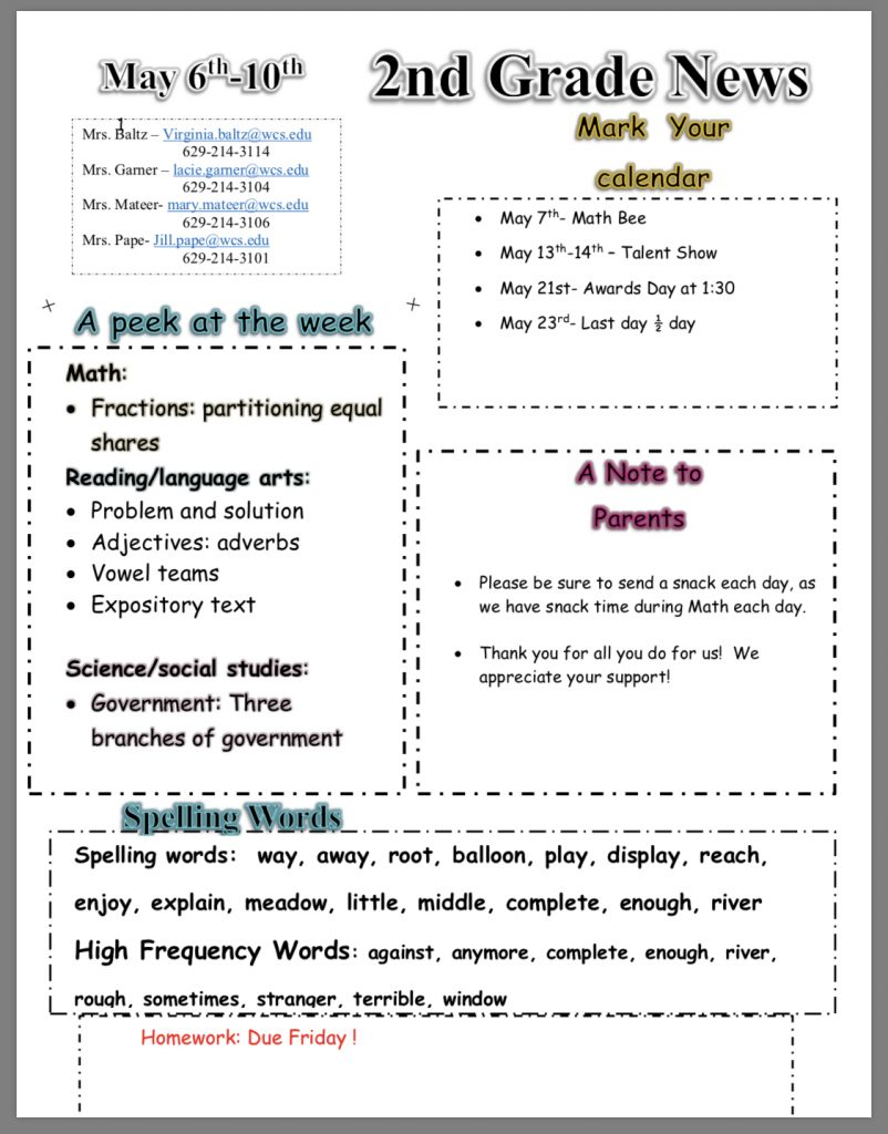 Grade 2 classroom newsletter paper copy in office